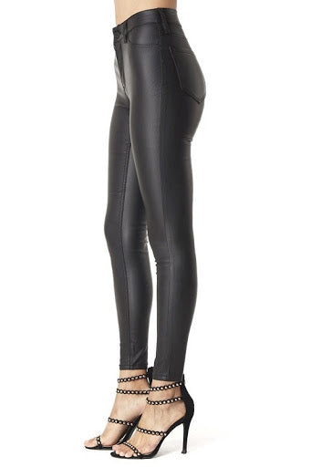 Hammer Collection Black Faux Leather Jeans - http://www.shopabigails.com