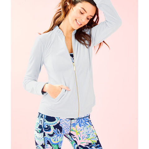 Lilly Pulitzer Jayla Velour Ruffle Zip Up Jacket Crew Blue