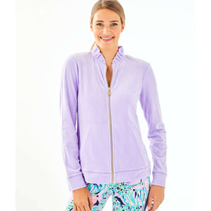 Load image into Gallery viewer, Lilly Pulitzer Jayla Velour Ruffle Zip-Up Light Lilac Verbana