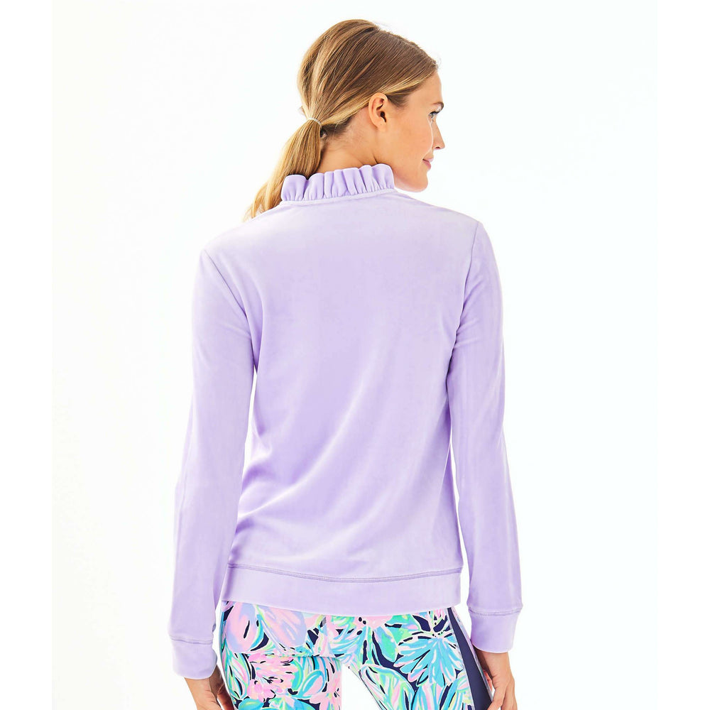 Lilly Pulitzer Jayla Velour Ruffle Zip-Up Light Lilac Verbana