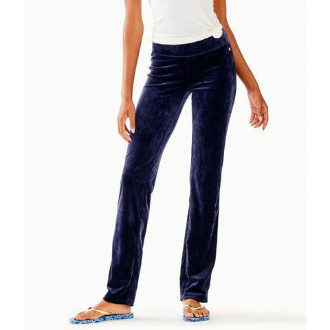 "Lilly Pulitzer 33"" Jordynne Velour Pant True Navy"