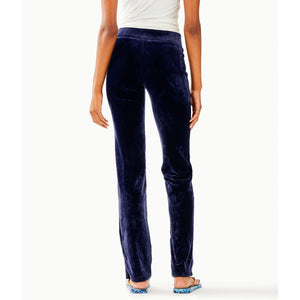 "Load image into Gallery viewer, Lilly Pulitzer 33"" Jordynne Velour Pant True Navy"