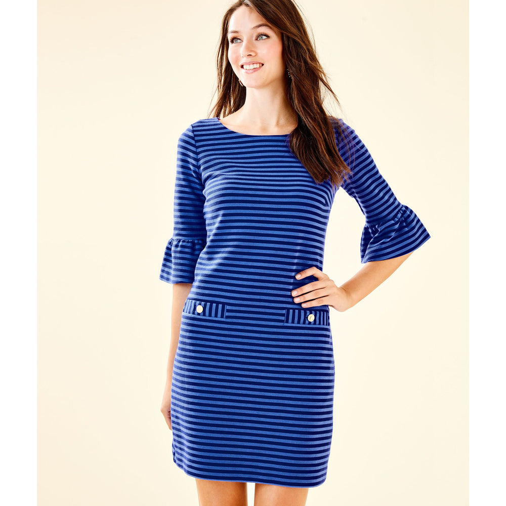 Load image into Gallery viewer, Lilly Pulitzer Alden Striped Dress Blue Grotto Ottoman Stripe