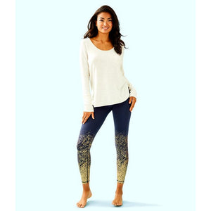 "Lilly Pulitzer UPF 50+ Luxletic 26"" Weekender Legging True Navy Anything Is Possible"