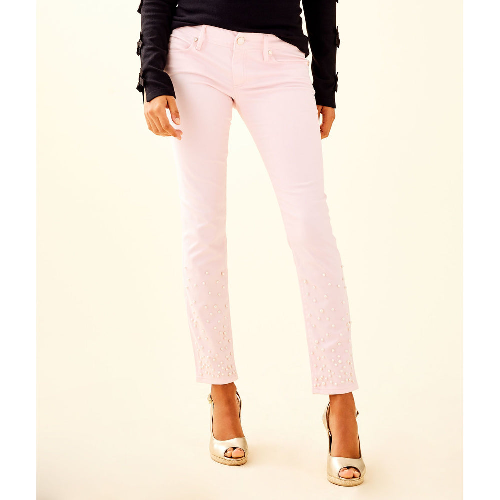 "Load image into Gallery viewer, Lilly Pulitzer 29"" Worth Skinny Jean Custom Pearl Embellishment Pink Fizz"