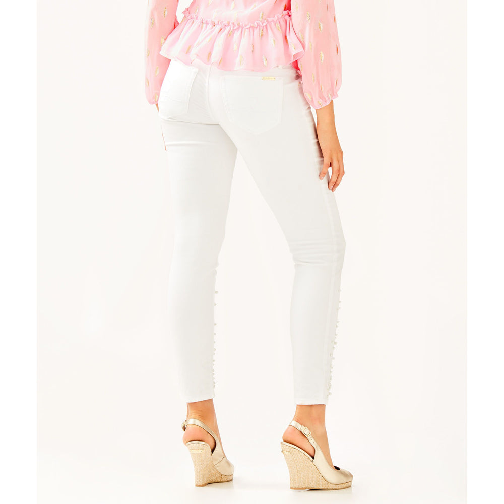 "Load image into Gallery viewer, Lilly Pulitzer 29"" Worth Skinny Jean Custom Pearl Embellishment Resort White"