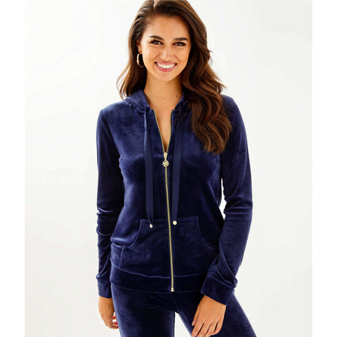 Lilly Pulitzer Larina Velour Zip-Up True Navy
