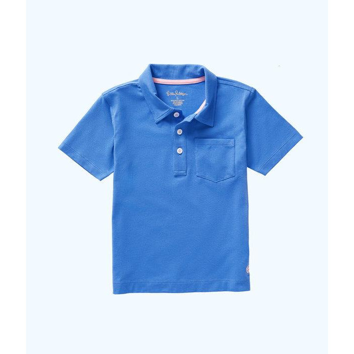 Lilly Pulitzer Boys Polo Shirt Coastal Blue