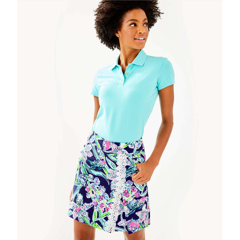 Lilly Pulitzer Luxletic Meredith Short Sleeve Golf Polo Bali Blue