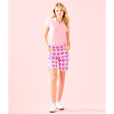 "Lilly Pulitzer 10"" Bettina Golf Short UPF 50+ Pink Tropics Glow And Flow Argyle"
