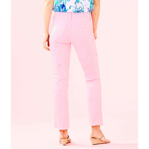 "Load image into Gallery viewer, Lilly Pulitzer 28"" South Ocean Crop Flare Pant Pink Tropics Tint Polka Dot"