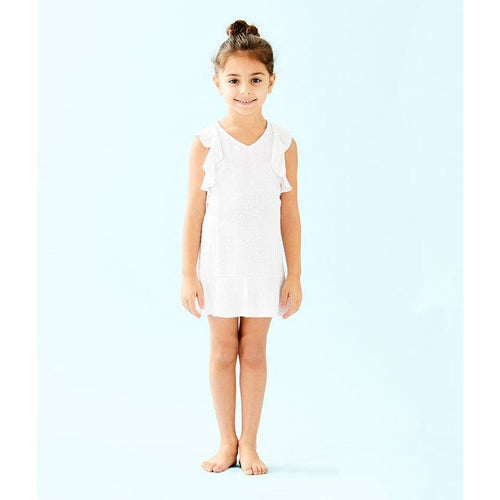 Lilly Pulitzer UPF 50+ Girls Mini Rally Tennis Dress Resort White Nylon Tennis Monkey Knit Jacquard