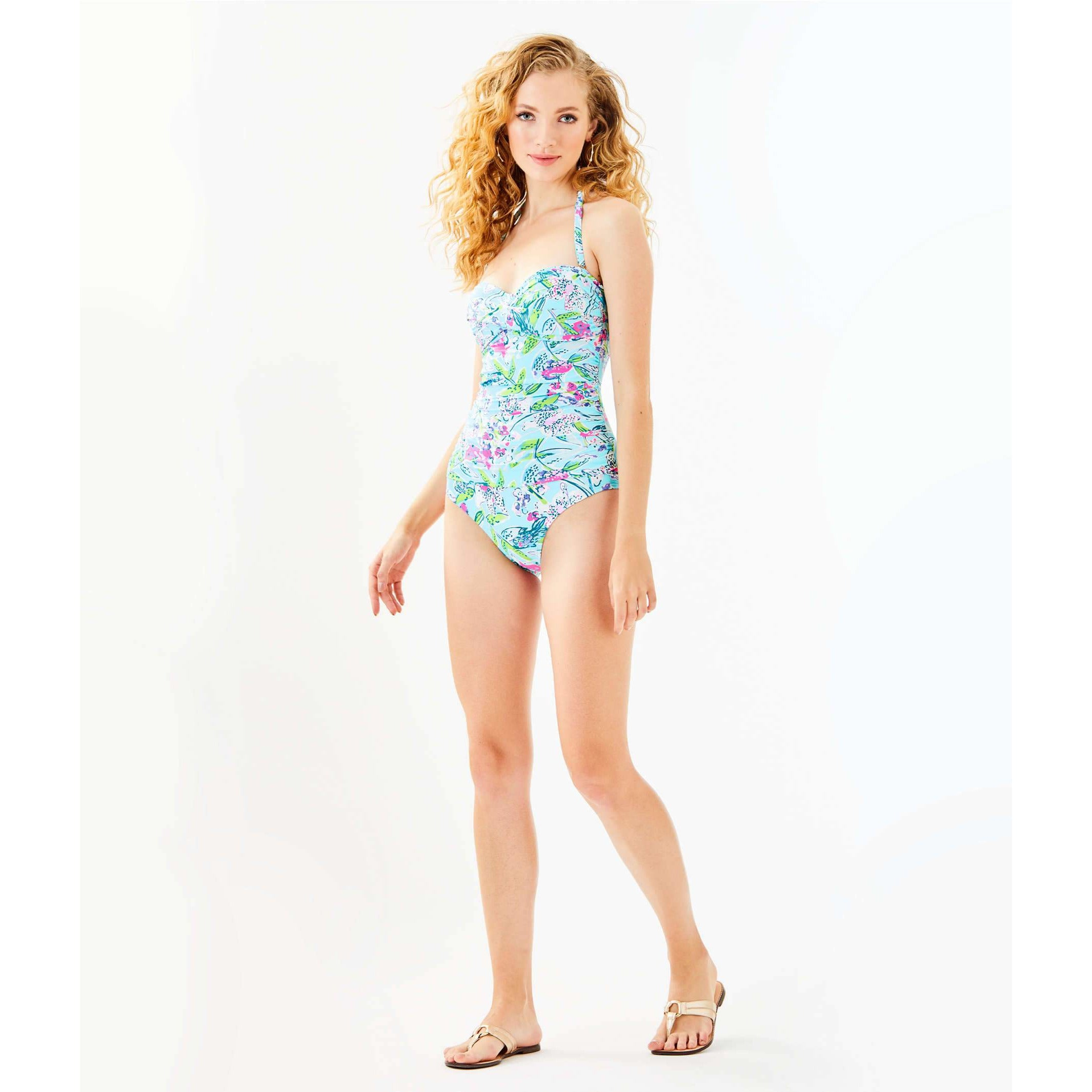 Lilly Pulitzer Flamenco One-Piece Swimsuit Bali Blue Sway This Way