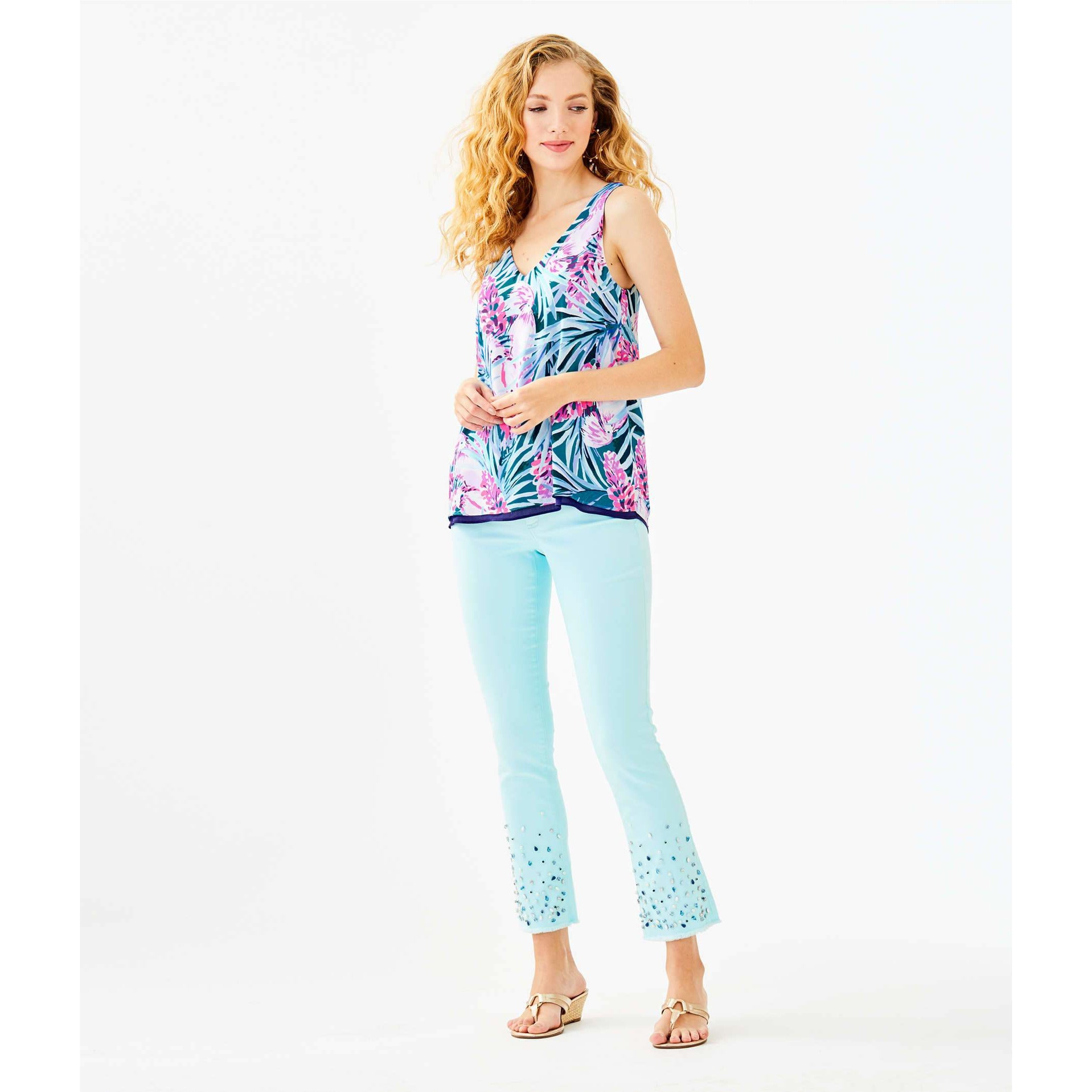 "Lilly Pulitzer 27 1/2"" South Ocean Crop Flare Embellished Pant Whisper Blue"