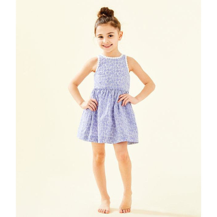 Load image into Gallery viewer, Lilly Pulitzer Girls Mini Tori Dress Crew Blue Tint Yarn Dye Stripe Floral Eyelet