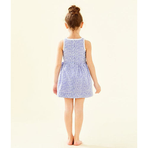 Lilly Pulitzer Girls Mini Tori Dress Crew Blue Tint Yarn Dye Stripe Floral Eyelet