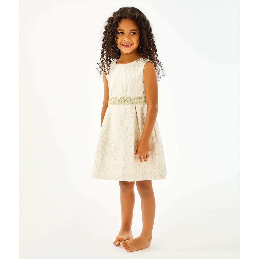 Load image into Gallery viewer, Lilly Pulitzer Girls Abrianna Dress Gold Metallic Lagoon Jacquard