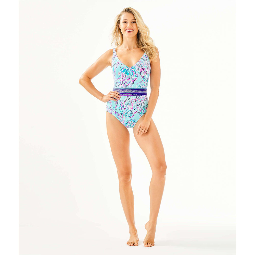 Load image into Gallery viewer, Lilly Pulitzer Riya One-Piece Swimsuit Bayside Blue Under The Moon Engineered One Piece Swim