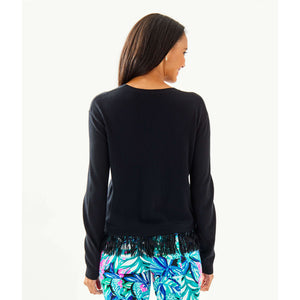 Load image into Gallery viewer, Lilly Pulitzer Marguerite Fringe Sweater Black