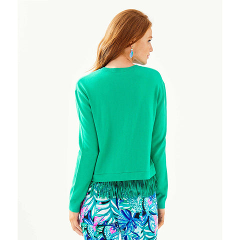 Lilly Pulitzer Marguerite Fringe Sweater Emerald Isle