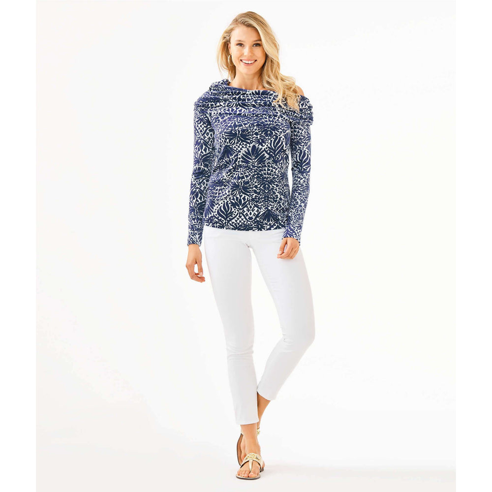 Lilly Pulitzer Belinda One-Shoulder Velour Pullover High Tide Navy By Land Or By Sea