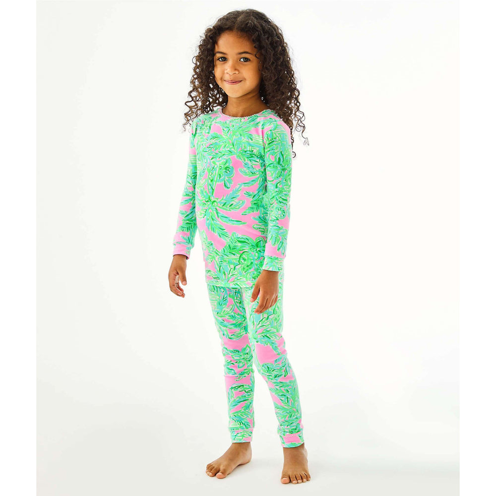 Load image into Gallery viewer, Lilly Pulitzer Girls Sammy Pajama Set Mandevilla Baby Pink Sand Paradise