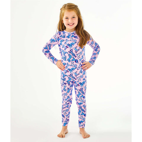 Lilly Pulitzer Girls Sammy Pajama Set Zanzibar Blue Ruff Night