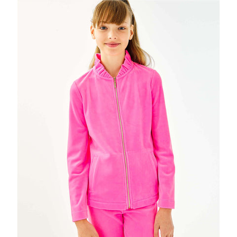 Lilly Pulitzer Girls Mini Jayla Velour Zip-Up Prosecco Pink