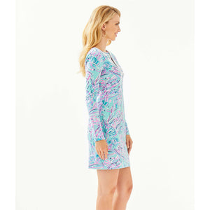 Lilly Pulitzer Long Sleeve Harper Shift Dress Bayside Blue Under The Moon