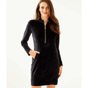 Lilly Pulitzer Skipper Velour Ruffle Dress Onyx