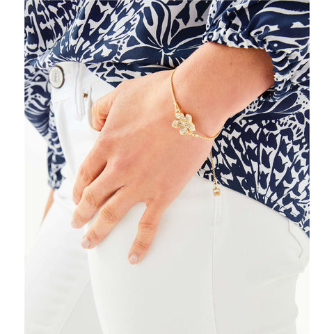 Lilly Pulitzer Beach Club Blooms Pull Tie Bracelet Gold Metallic