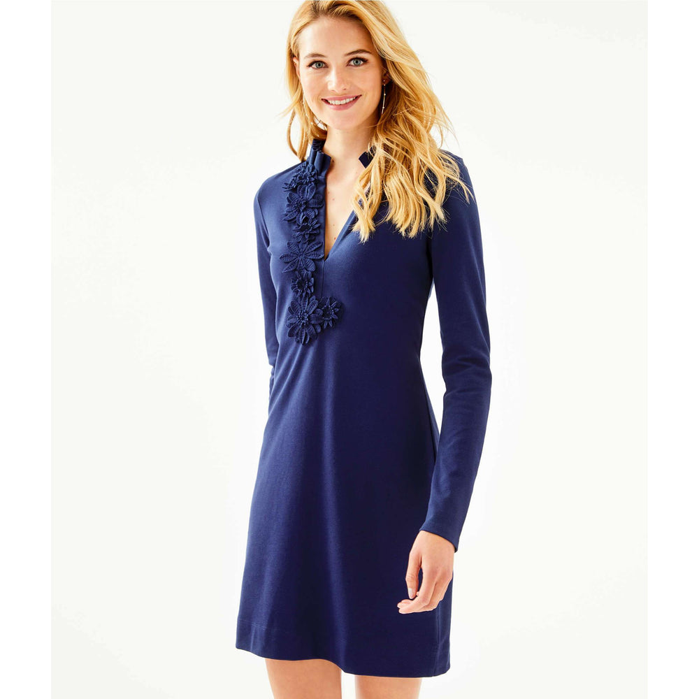 Load image into Gallery viewer, Lilly Pulitzer Long Sleeve Clary Polo Dress True Navy
