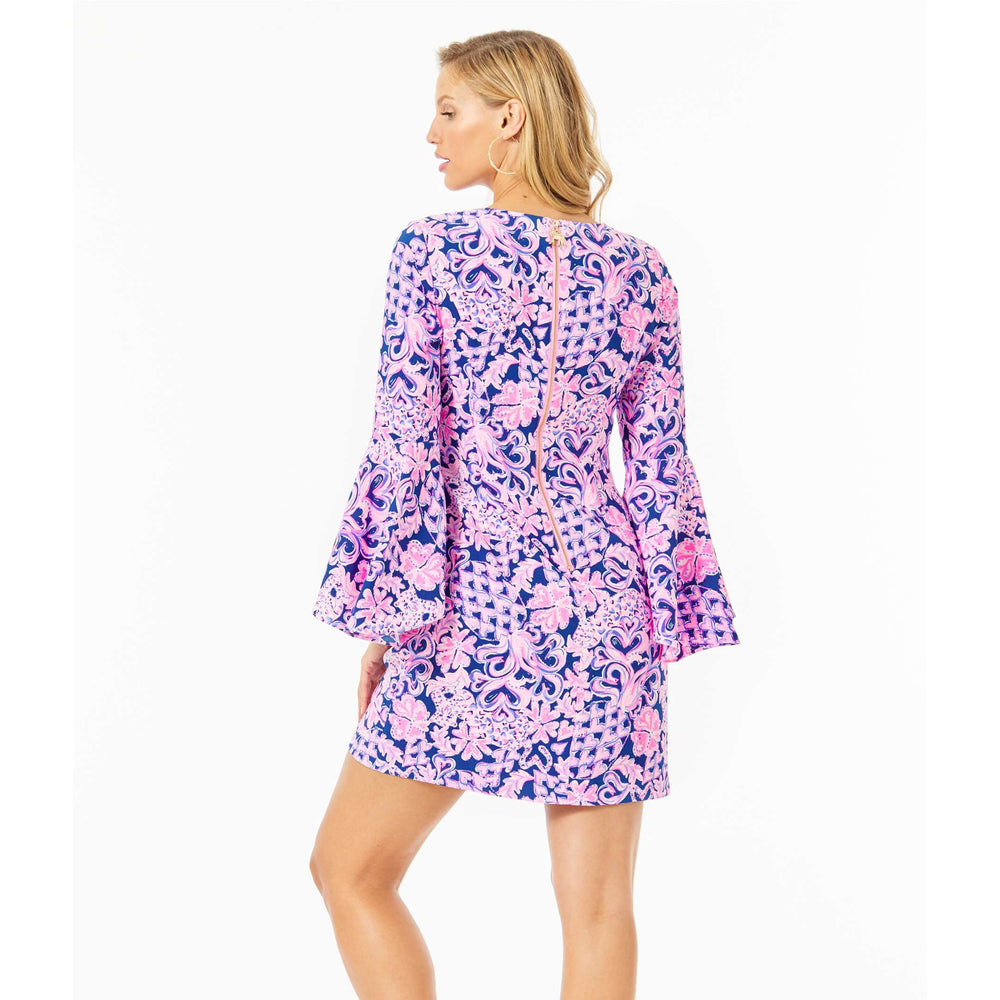 Load image into Gallery viewer, Lilly Pulitzer Kayla Stretch Dress Indigo Love You Bunches