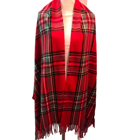 Seattle Silver Red Tartan Plaid Cashmere Shawl