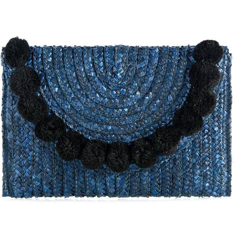 Fortuna Pom Pom Clutch Navy