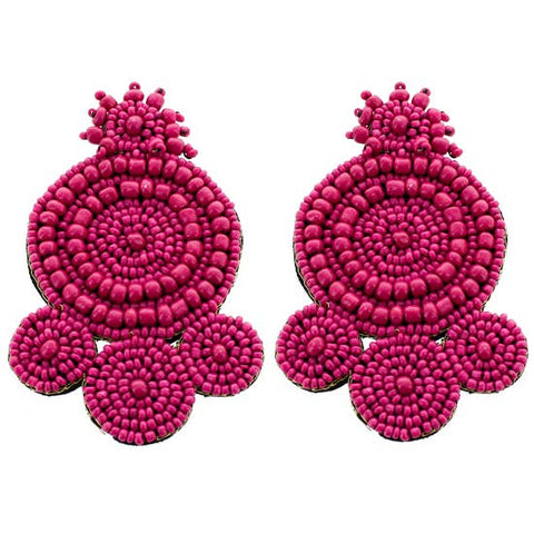 Seed Bead Moroccan Earrings Hot Pink