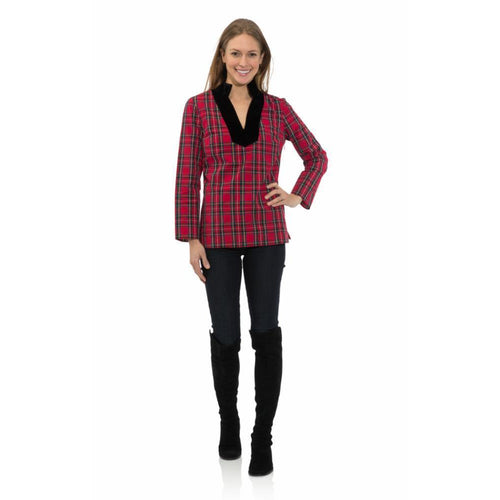 Sail to Sable Stretch Cotton Plaid Tunic Top Red Plaid