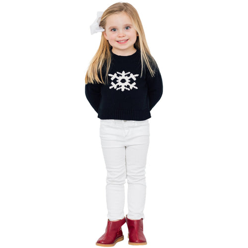 Sail To Sable Kids Intarsia Snowflake Sweater Black