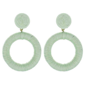 Silk Hoop Earrings Seafoam Green