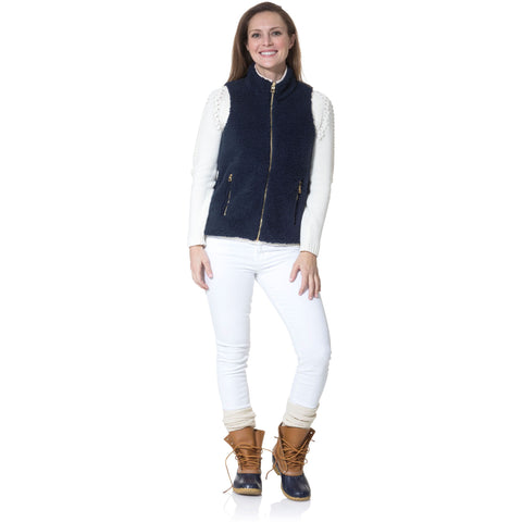 Sail To Sable Sherpa Zip Up Vest Navy