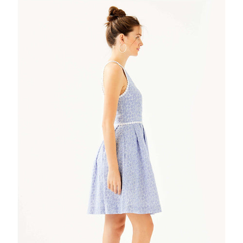 Lilly Pulitzer Tori Dress Crew Blue Tint Yarn Dye Stripe Floral Eyelet