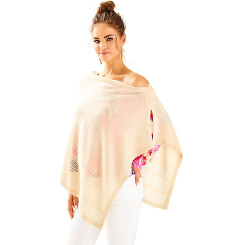 Lilly Pulitzer Mirada Cashmere Wrap Heathered Sand Dune Metallic