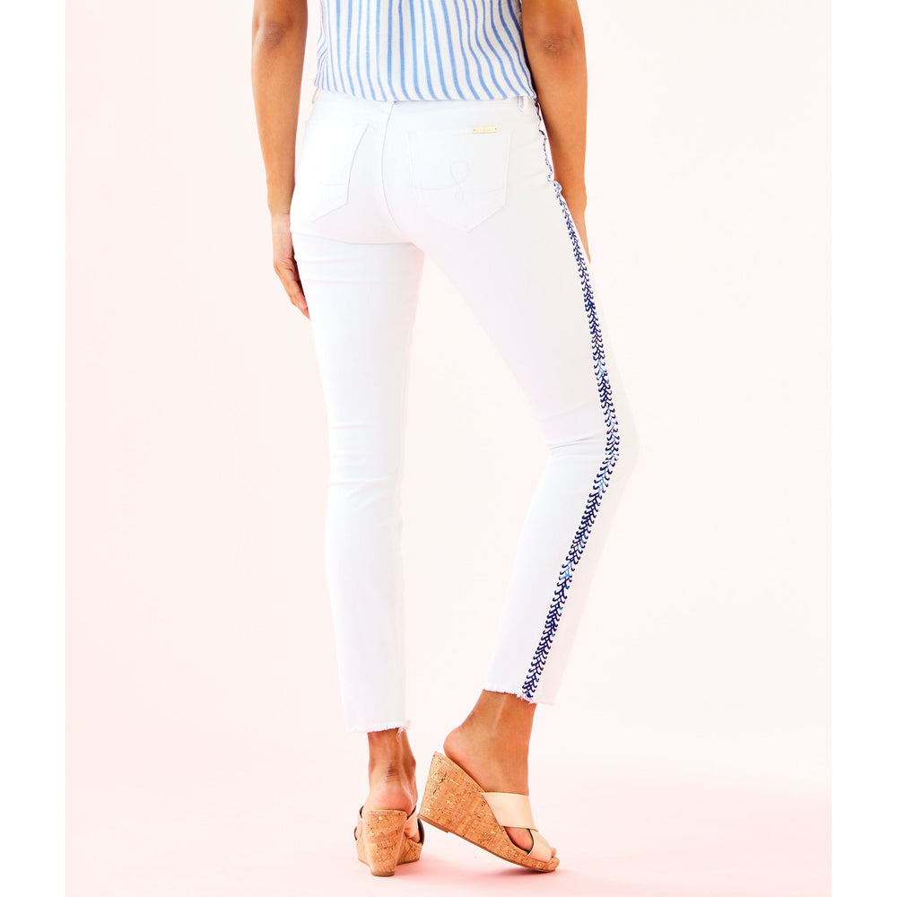 "Lilly Pulitzer 28"" South Ocean Skinny Crop Pant Resort White Crisscross Tuxedo Stripe"