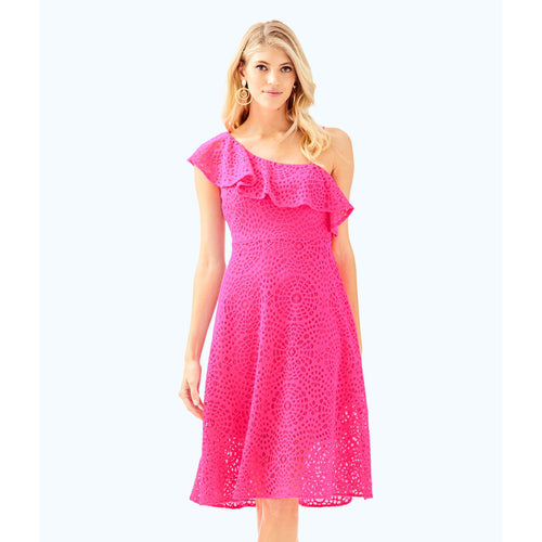 Lilly Pulitzer Callisto Dress Pink Cosmo Sea Urchin Terry Lace