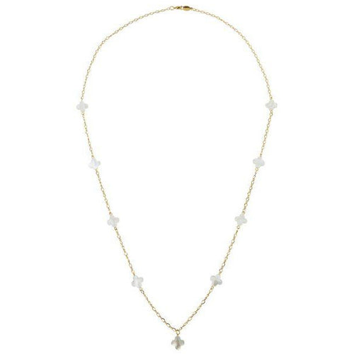 Long Clover Necklace White/Gold