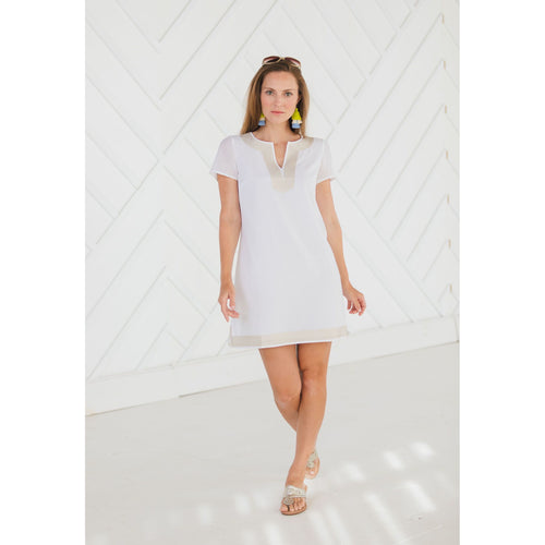Sail To Sable Short Sleeve Tunic Dress White