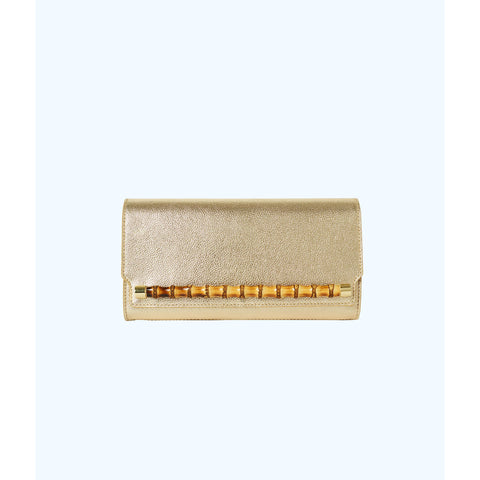 Lilly Pulitzer Bamboo Clutch Gold Metallic