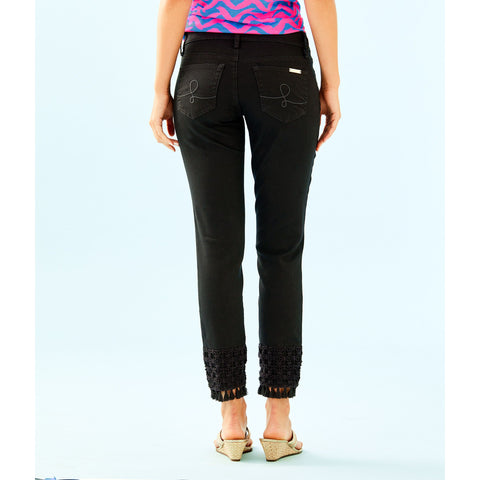 Lilly Pulitzer South Ocean Skinny Crop With Lace Onyx