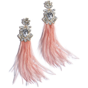 Vivi Feather Gem Earrings Peach