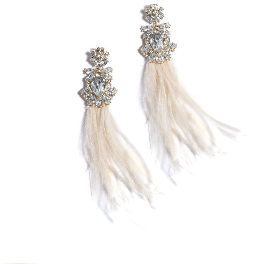 Vivi Feather Gem Earrings Ivory